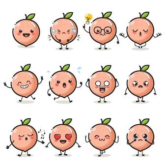 Zestaw znaków słodkie owoce brzoskwini w różnych emocji działania