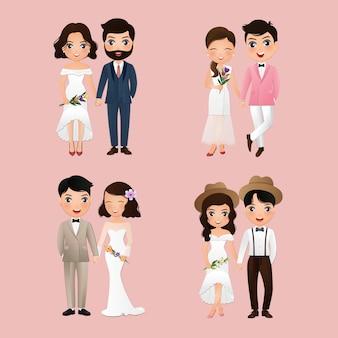 Zestaw znaków słodkie panny młodej i pana młodego. dzień ślubu