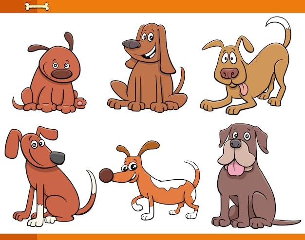 Zestaw znaków słodkie psy i szczenięta