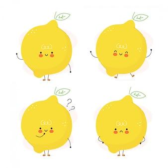 Zestaw znaków słodkie śmieszne owoce cytryny