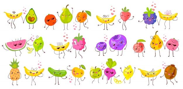 Zestaw znaków słodkie śmieszne owoce na białym tle