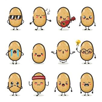 Zestaw znaków słodkie ziemniaki w różnych emocji działania