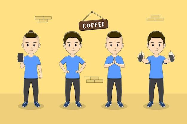 Zestaw znaków słodkiego chłopca z kawy z wieloma pozami