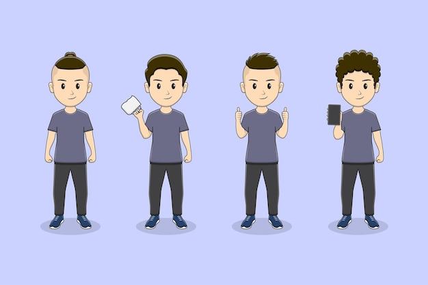 Zestaw znaków słodkiego chłopca z wieloma pozami z telefonem
