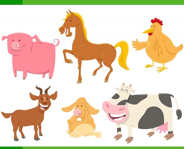 Zestaw znaków śmieszne kreskówki zwierząt gospodarskich