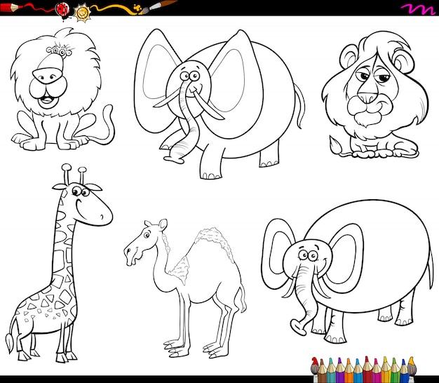 Zestaw znaków śmieszne zwierzęta kolorowanka