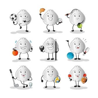 Zestaw znaków sportowych bułki mięsnej. kreskówka maskotka