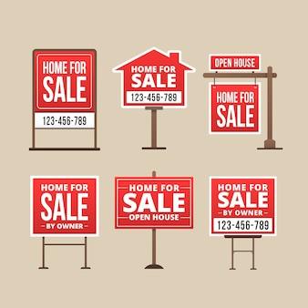 Zestaw znaków sprzedaży nieruchomości