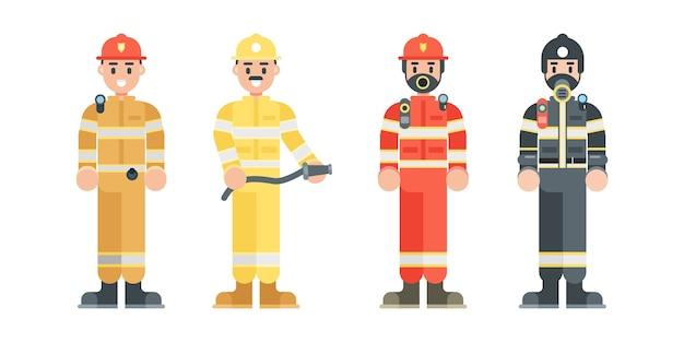 Zestaw znaków strażaka. strażak ubrany w mundur i hełm w stylu płaski.