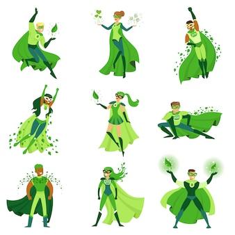 Zestaw znaków superbohaterów eco, młodzi mężczyźni i kobiety w różnych pozach z zielonymi pelerynami ilustracje