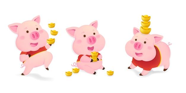 Zestaw znaków świń. świnie na chiński nowy rok.