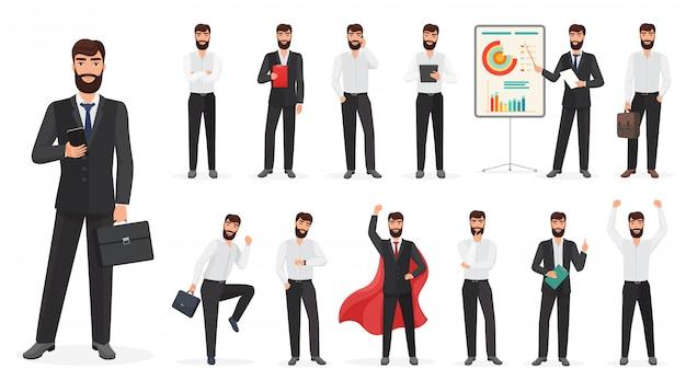 Zestaw znaków szczęśliwy biznesmen z różnych pozach i działań