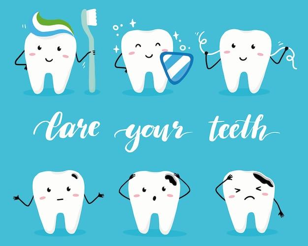 Zestaw znaków szczęśliwy i zły ząb z twarzą.
