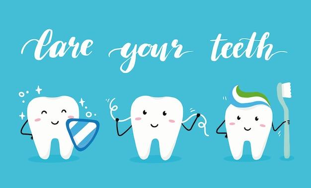 Zestaw znaków szczęśliwy ząb z twarzą