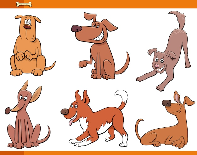 Zestaw znaków szczęśliwy zwierząt psów i szczeniąt