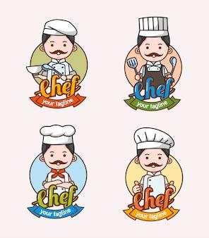 Zestaw znaków szefa kuchni człowieka z różnych ubrań i pozy używane do logo i maskotki