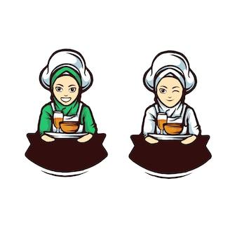 Zestaw znaków szefa kuchni kobiety