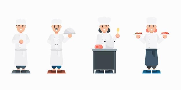 Zestaw znaków szefa kuchni. nowoczesna kreskówka mężczyzna i kobieta z jednolitymi postaciami w stylu płaski.
