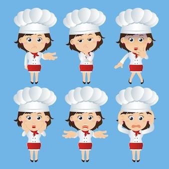 Zestaw znaków szefa kuchni w różnych pozach