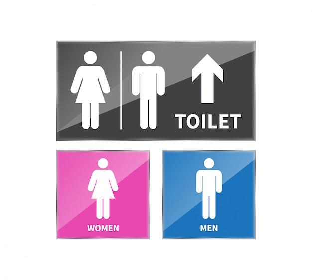 Zestaw znaków toaletowych.