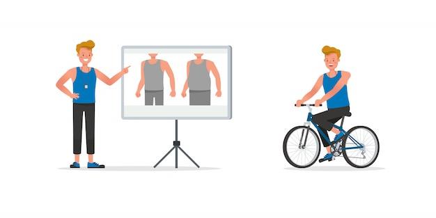 Zestaw znaków trenera fitness. mężczyzna ubrany w sportowe ubrania