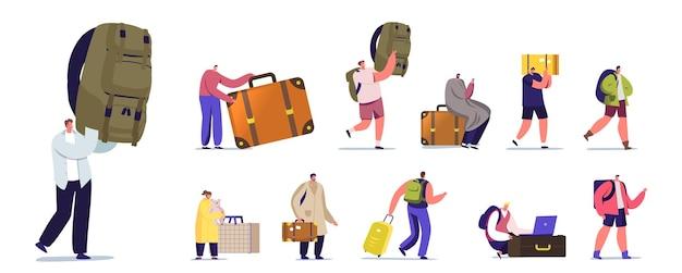 Zestaw znaków turystów z bagażem. ludzie chodzą na wakacje z torbami, podróż na resort z walizką. mężczyźni i kobiety z bagażem na białym tle. ilustracja kreskówka wektor