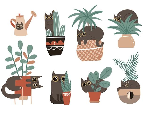 Zestaw znaków winnego kota. śliczne niegrzeczne figlarne koty uszkadzają rośliny doniczkowe. ręcznie rysowane skandynawska ilustracja kreskówka.