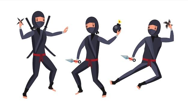 Zestaw znaków wojownika ninja