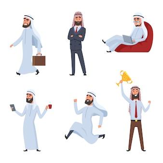 Zestaw znaków z kreskówek. ilustracje arabskich biznesmenów