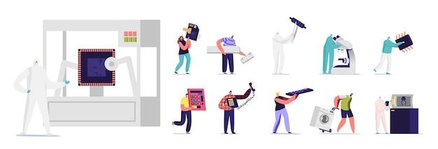Zestaw znaków z maszynami. drobni mężczyźni i kobiety z ogromną kartą sim na telefon komórkowy, półprzewodniki, kalkulator i pilot na białym tle. ilustracja wektorowa kreskówka ludzie