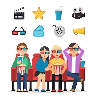 Zestaw znaków zabawnych ludzi oglądających film w kinie