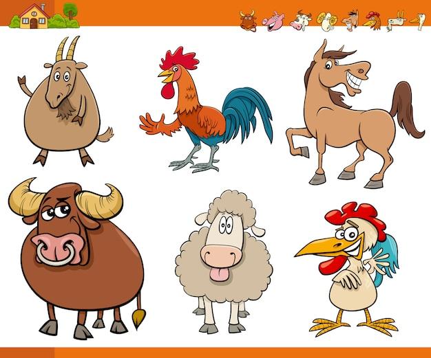 Zestaw znaków zabawnych zwierząt gospodarskich kreskówek