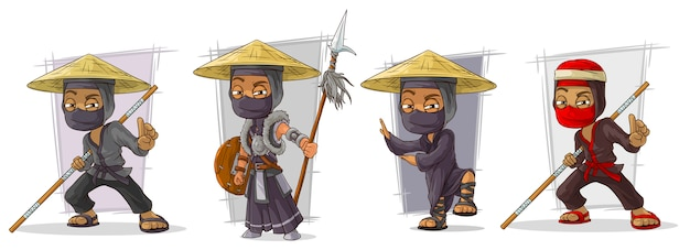 Zestaw znaków zamaskowanych wojowników ninja z kreskówek