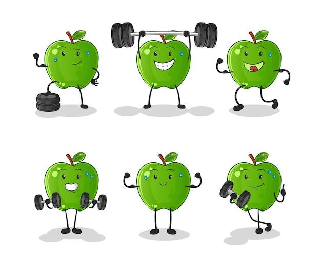 Zestaw znaków zielonych jabłek. kreskówka maskotka