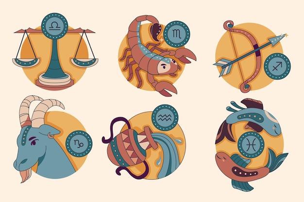 Zestaw znaków zodiaku o płaskiej konstrukcji