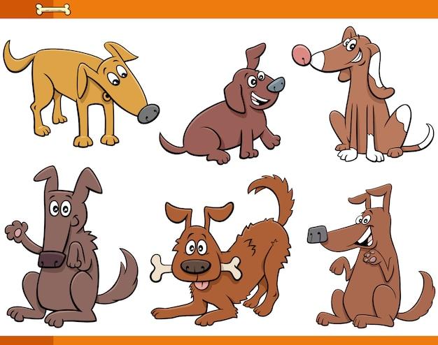 Zestaw znaków zwierząt psy i szczenięta kreskówek