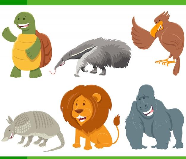 Zestaw znaków zwierząt śmieszne kreskówki