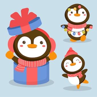 Zestaw znaków zwierząt z pingwinem i pudełkiem prezentowym