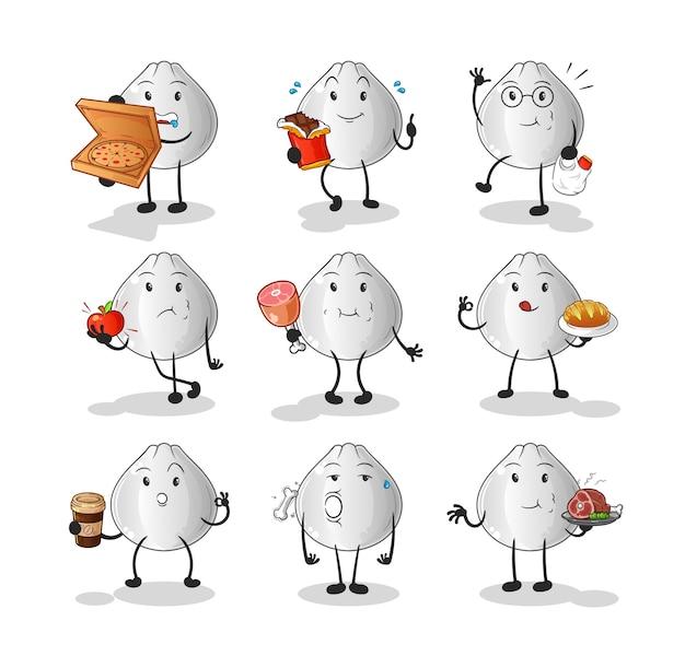 Zestaw znaków żywności bułki mięsnej. kreskówka maskotka