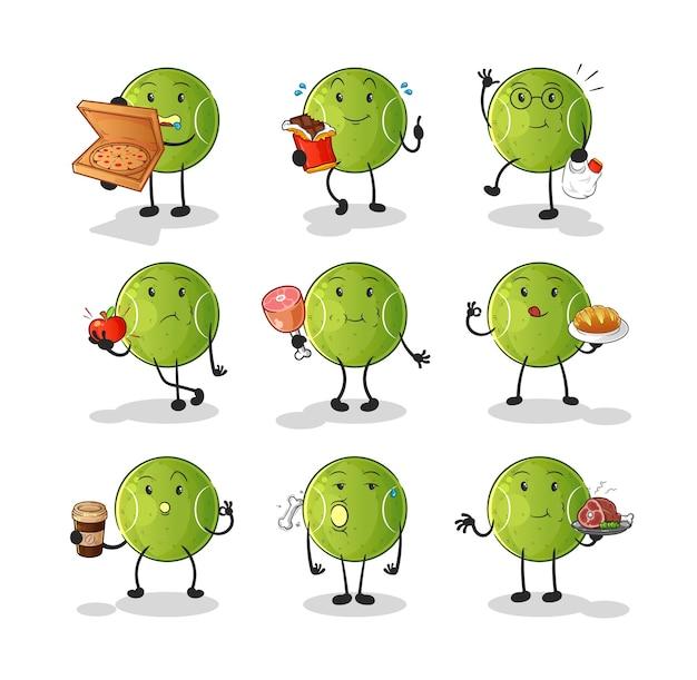 Zestaw znaków żywności z piłką tenisową. kreskówka maskotka