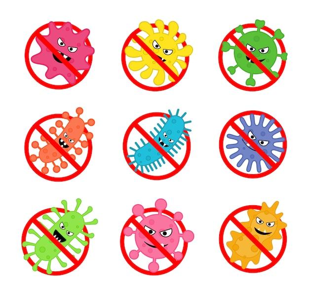 Zestaw znaku antybakteryjnego. brak ikony bakterii pojedynczo na białym tle.