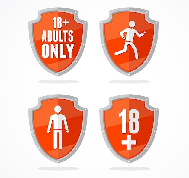 Zestaw znaku stop tarczy koncepcja ograniczenia wieku