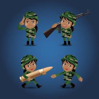Zestaw żołnierzy armii w mundurach z działaniem różnicowym