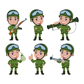 Zestaw żołnierzy armii w mundurze z działaniem różnicowym