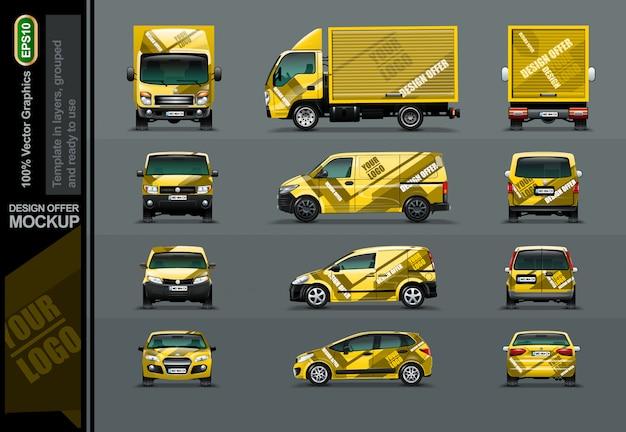 Zestaw żółte samochody w pozycji drzewa.