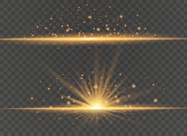 Zestaw żółtego światła i iskier