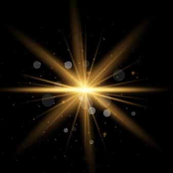 Zestaw żółtego świecącego światła wybucha na przezroczystym tle lśniące magiczne cząsteczki pyłu. wybuch gwiazdy z iskierkami. złoty brokat bright star. przezroczyste świecące słońce, jasny błysk