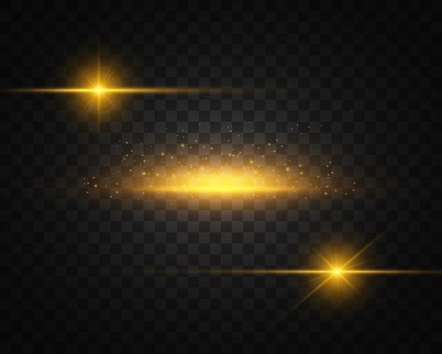 Zestaw żółtego, złotego świecącego światła wybucha na przezroczystości