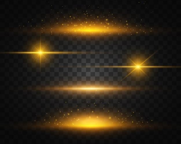 Zestaw żółtego, złotego, świecącego światła wybucha. świeci słońce.