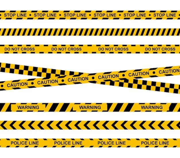 Zestaw żółtej taśmy ostrzegawczej wstążki ostrzegające o przestępstwach przestroga ostrzeżenie zatrzymać linie policyjne wektor